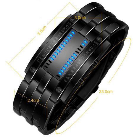fdbdfb9c755 Relógio Feminino Pulso Aço de Liga Data Digital Led Preto - Outras marcas