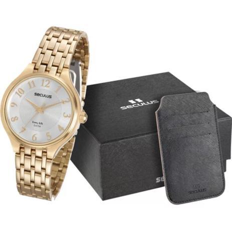 Imagem de Relógio feminino seculus dourado kit cartões 20466LPSVDA1K1