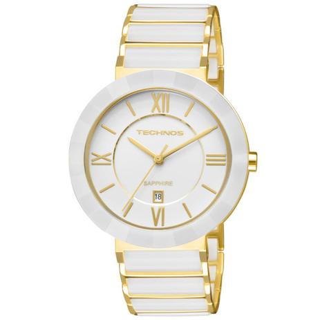 f46d001cac910 Relógio Feminino Technos Ceramic 2015BV 4B 40mm Aço Dourado Cerâmica Branca