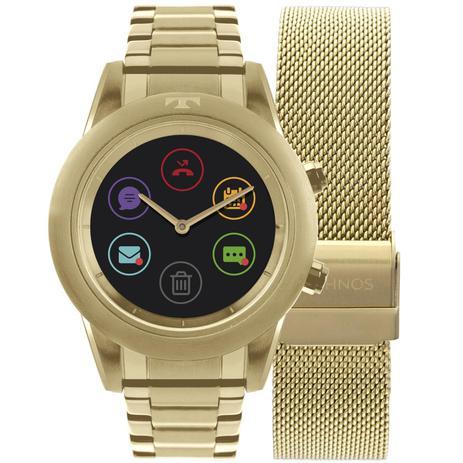 61a13aa9d8027 Relógio Feminino Technos Connect Duo Smartwatch P01AC 4P Aço Dourado ...