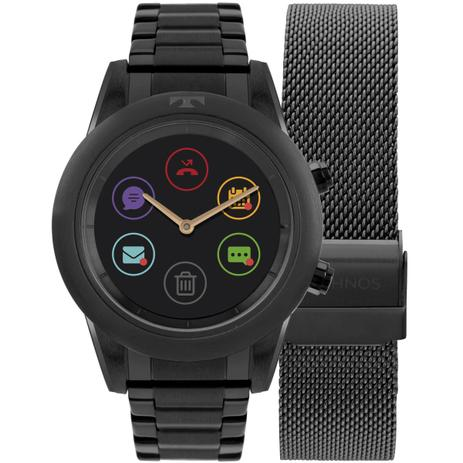 062e839c7a0 Relógio Feminino Technos Connect Duo Smartwatch P01AD 4P Aço Preto ...