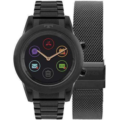 7a3c64cbabfb4 Relógio Feminino Technos Connect Duo Smartwatch P01AD 4P Aço Preto ...