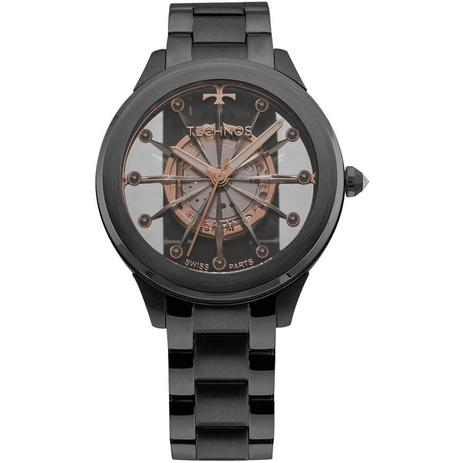 Relógio Feminino Technos Elegance F03101AC 4W Aço Preto - Relógio ... bc3c54fd45