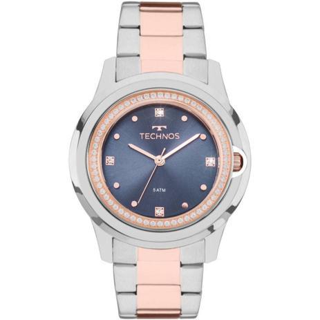b16339780e7 Relógio Feminino Technos Swarovski 2035MLI 5A - Prata Rosê - Relógio ...