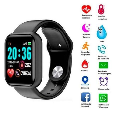 Imagem de Relogio Inteligente Smartwatch D20 Bluetooth Preto