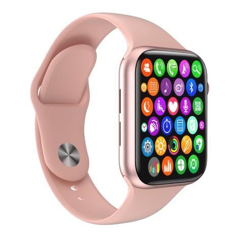 Imagem de Relógio Inteligente SmartWatch W34 S Rosa Troca Pulseira Android iOS Ligações Monitor Cardíaco