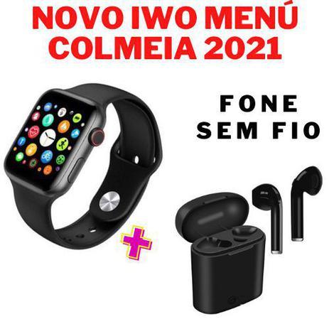 Imagem de Relógio Inteligente SmartWatch W34 S Troca Pulseira Ligações Monitor Cardíaco Android e iOS