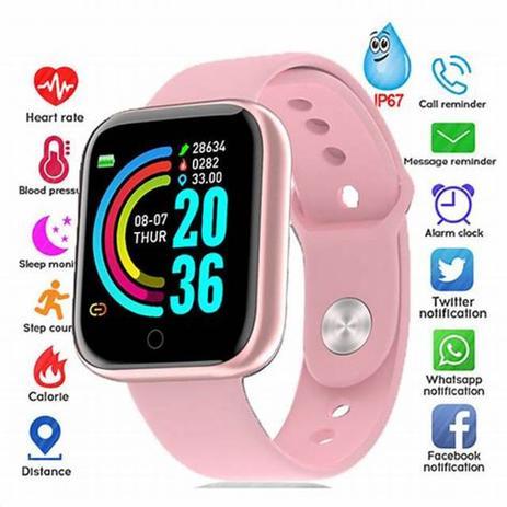 Imagem de Relogio Inteligente Smartwatch Y68 Bluetooth ROSA