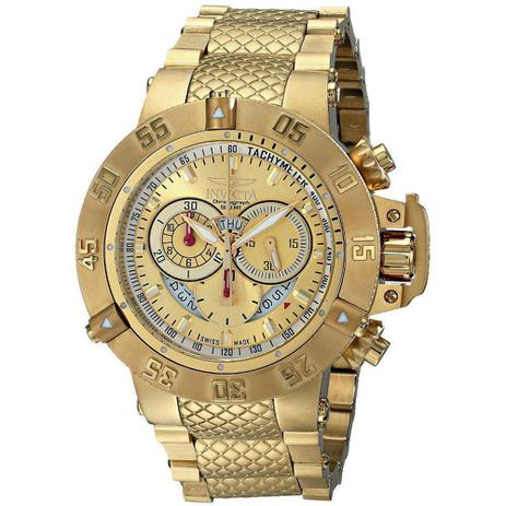01e5395da6378 Relógio Invicta Masculino 5403 Subaqua 50mm Banhado A Ouro 18k ...