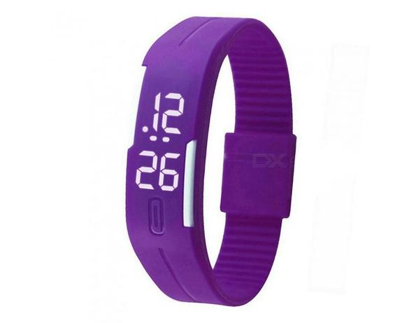 bbd4ece597f Relógio Led Digital Sport Bracelete Pulseira Silicone - Roxo - Lelong