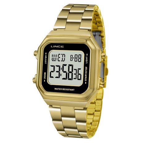 967218cee4f Relogio Lince Feminino Digital Quadrado Dourado SDG615L BXKX ...