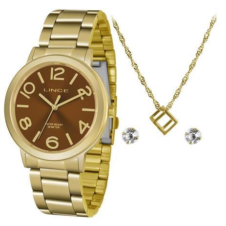 d0364515918 Relógio Lince Feminino Ref  Lrgh087l Kv46n2kx Dourado + Semijóia ...