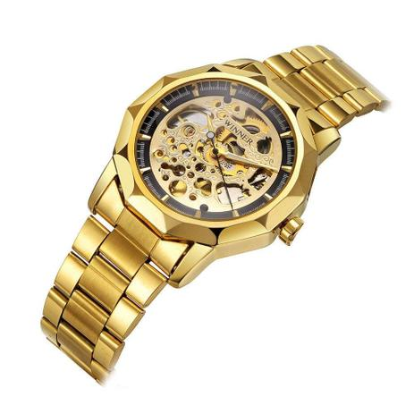 b2bd58362df Relógio Masculino Analógico Winner Dourado Esqueleto Cromado ...