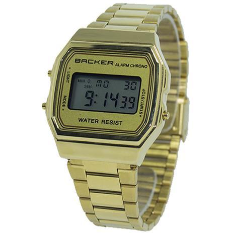 04a3e708786 Relógio Masculino Backer Digital 15000475M - Dourado - Relógio ...