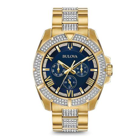 6ba374f1d95 Relógio Masculino Bulova Modelo 98C128 42 Mm - A Prova DÁgua   Banhado a  Ouro