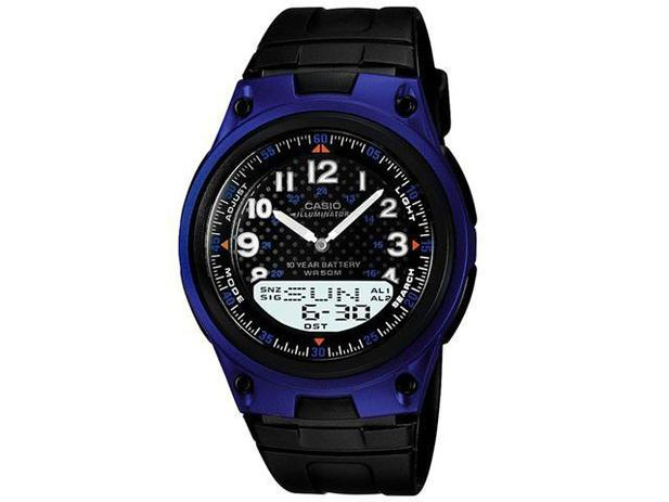 b2a1d144613 Relógio Masculino Casio Anadigi - Resistente à Água Cronômetro Mundial  AW-80-2BVDF