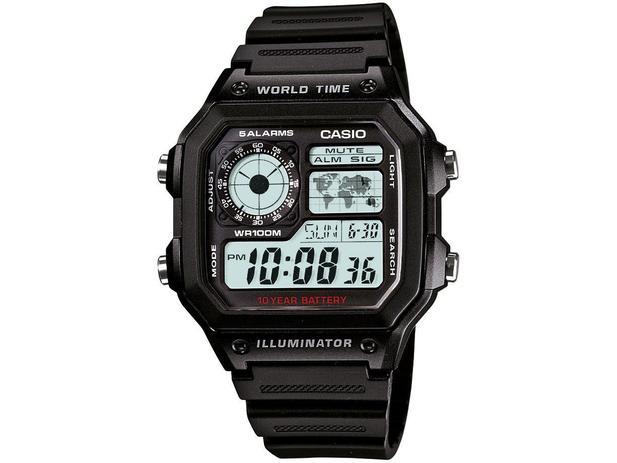 a159d519966 Relógio Masculino Casio Digital - Resistente à Água Cronômetro AE-1200WH-1A