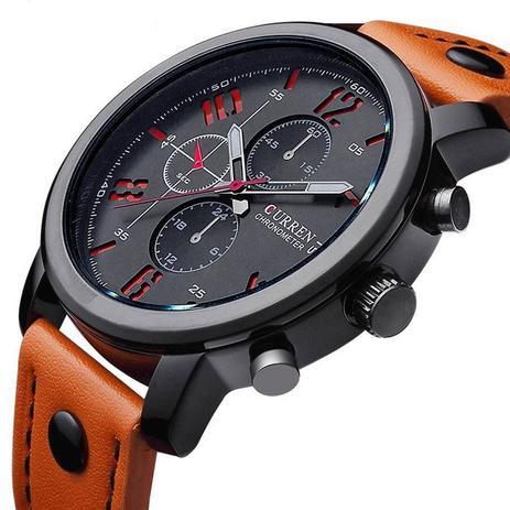 f12b721fa63 Relógio Masculino Curren Pulseira De Couro Esportivo Militar ...