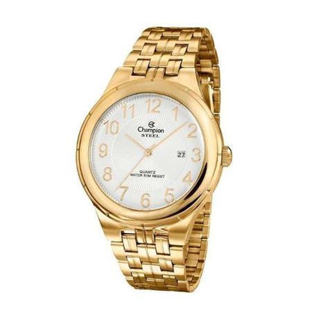 7f0a3e1aa799c Relogio Masculino Dourado Champion com Data Aço CA21624H - Relógio ...