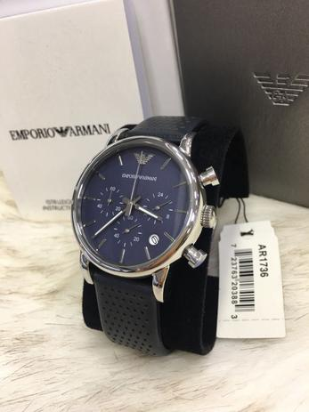 f96b5227e Relógio Masculino Empório Armani Ar1736 Preto Azul Analógico 46mm - Emporio  armani