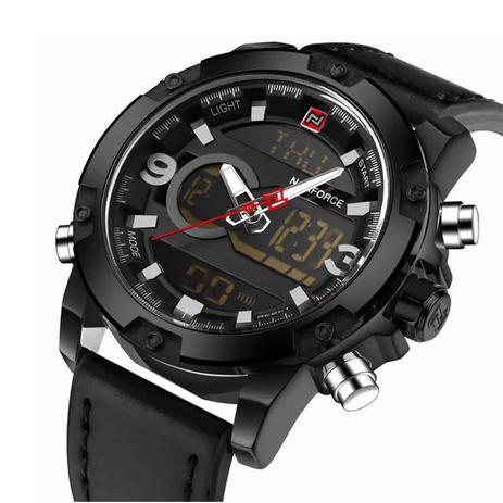 de08dd35fbe Relógio Masculino NAVIFORCE Esporte de Quartz LED Digital Militar Resistente  à Água