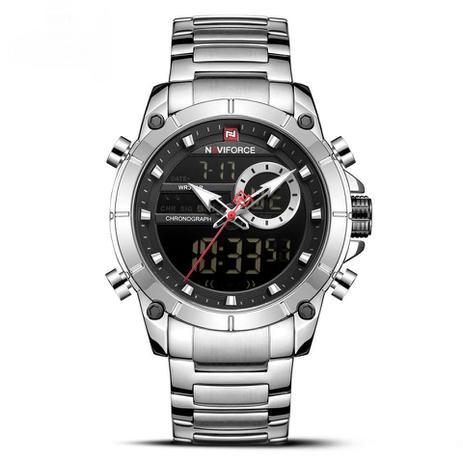 Imagem de Relógio masculino naviforce prata prateado inox digital e analógico grande com cronometro