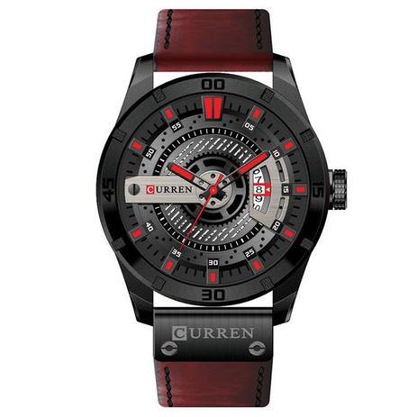 ab8f9a87830 Relógio Masculino Original Curren Pulseira Couro Cronógrafo ...
