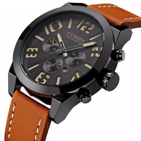 f807a632a7d Relógio Masculino Original Curren Pulseira Couro Função Data ...