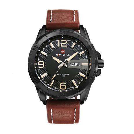 6be77afa628f1 Relógio Masculino Original Naviforce Militar Pulseira Couro ...