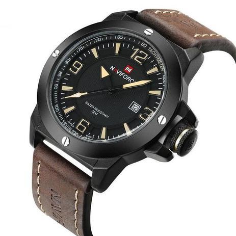f52526fe556 Relógio Masculino Original Naviforce Preto Esportivo Couro - Relógio ...