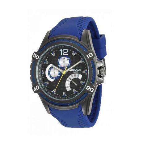 5c12e81b1d1 Relogio Masculino Preto com Azul Multifunção Seculus - Relógio ...