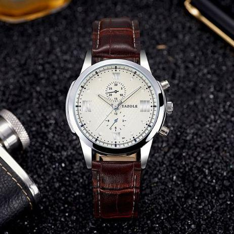 3d9ddd28f63 Relógio Masculino Quartzo YAZOLE Branco com Marrom - Relógio ...