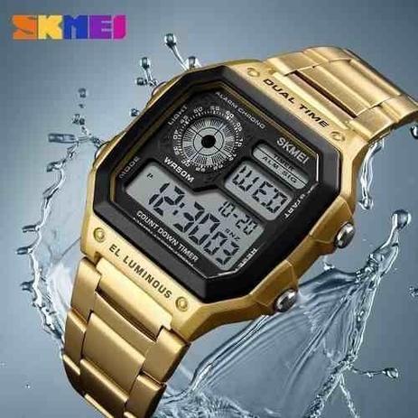Imagem de Relogio masculino Skmei 1335 digital esportivo dourado