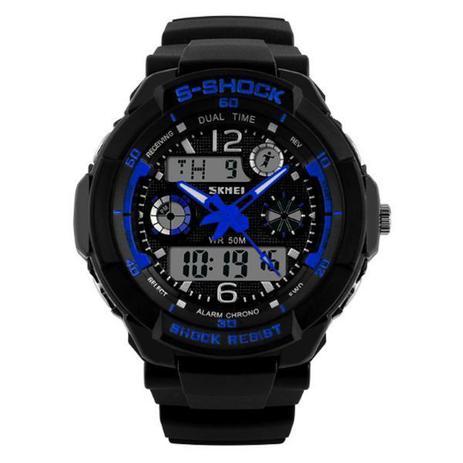 fd7366541a0 Relógio Masculino Skmei Anadigi 1060 Preto e Azul - Relógio ...