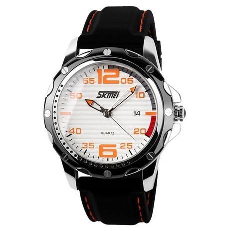 697021d3c25 Relógio Masculino Skmei Analógico 0992 Branco e Laranja - Relógio ...