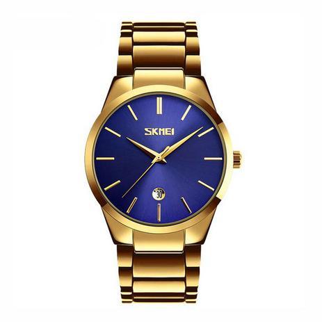 da7a08359bf Relógio Masculino Skmei Analógico 9140 Dourado e Azul - Relógio ...