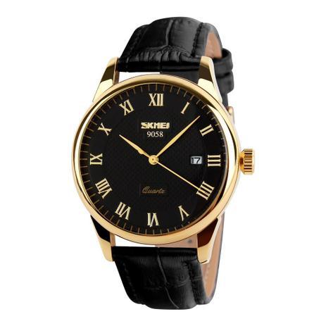 Relógio Masculino Skmei De Luxo Pulseira Couro Modelo 9058 - Relógio ... c45f4ad32d
