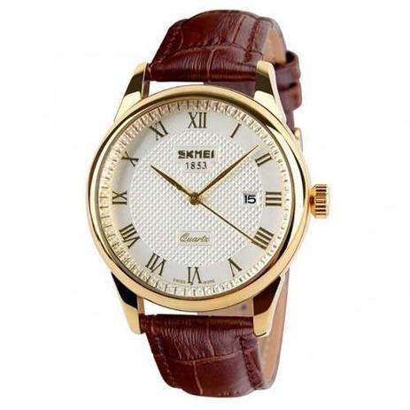 1a280b4a92db3 Relógio Masculino Skmei De Luxo Pulseira Couro Modelo 9058 - Relógio ...
