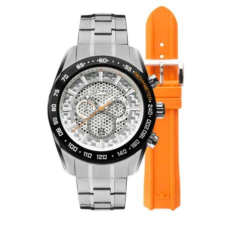 5abf64f0bbeb8 Relógio Masculino Technos OS20HM 1B Pulseira Aço + Adicional Borracha  Laranja