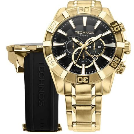 9d3f0b0453166 Relógio Masculino Technos OS2AAJ 4P   OS2AAJAC 4P Dourado 52mm com  Pulseiras Adicionais