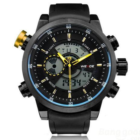ac889decb4d Relógio Masculino Weide AnaDigi Esporte WH-3401 Amarelo - Relógio ...