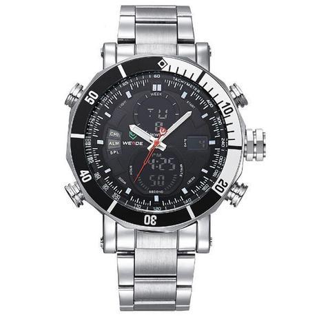 62ee362fa05 Relógio Masculino Weide Anadigi WH-5203 Prata e Preto - Relógio ...