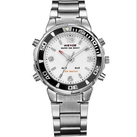23e176562 Relógio Masculino Weide Anadigi WH-843 Prata e Branco - Relógio ...