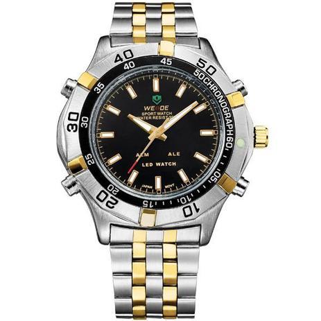 06b78a94a84 Relógio Masculino Weide Anadigi WH-905 Prata e Dourado - Relógio ...