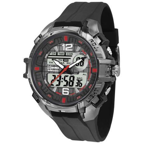 27827fa5298 Relógio Masculino X-Games Anadigi XMPPA234 BXPX Preto Cromado ...