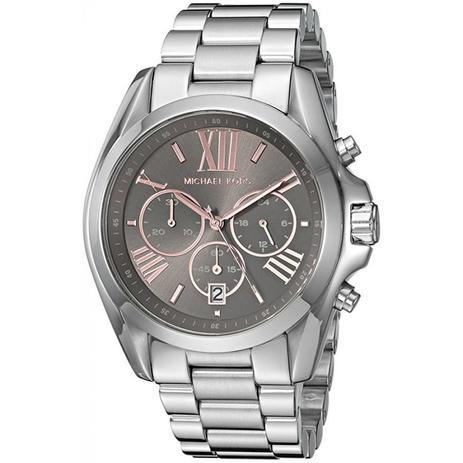 3c3da82b1 Relógio Michael Kors Feminino Ref: Mk6557/1kn Cronógrafo Prateado ...