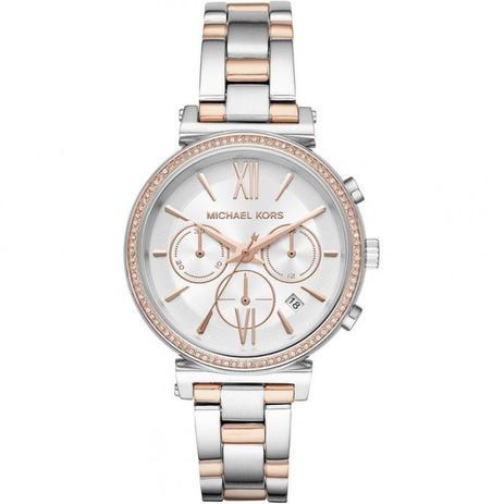 Relógio Michael Kors Feminino Ref  Mk6558 1kn Cronógrafo Bicolor ... 3ed164e23c