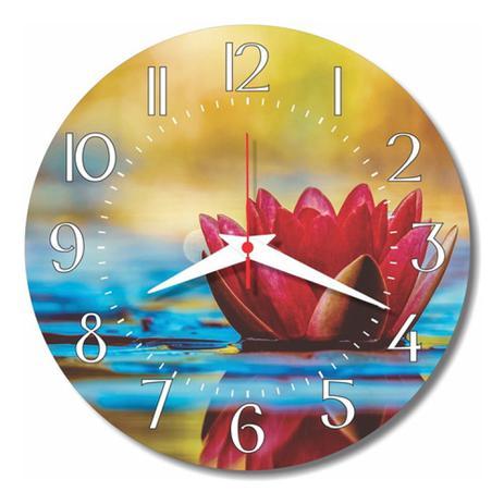 Imagem de Relógio Parede Lírio Água Pétalas Cozinha Flor Retrô 30cm