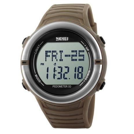 36a0f248dd3 Relógio Pedômetro Masculino Skmei Digital 1111 Marrom e Prata ...
