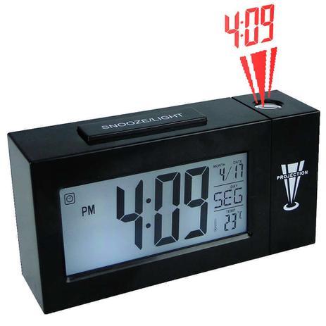 e8b0436fb1c Relogio projetor de horas digital com termometro alarme preto CBRN02801 -  Commerce brasil